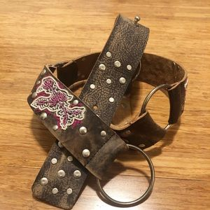 Betsey Johnson leather embroidered belt sequins. M